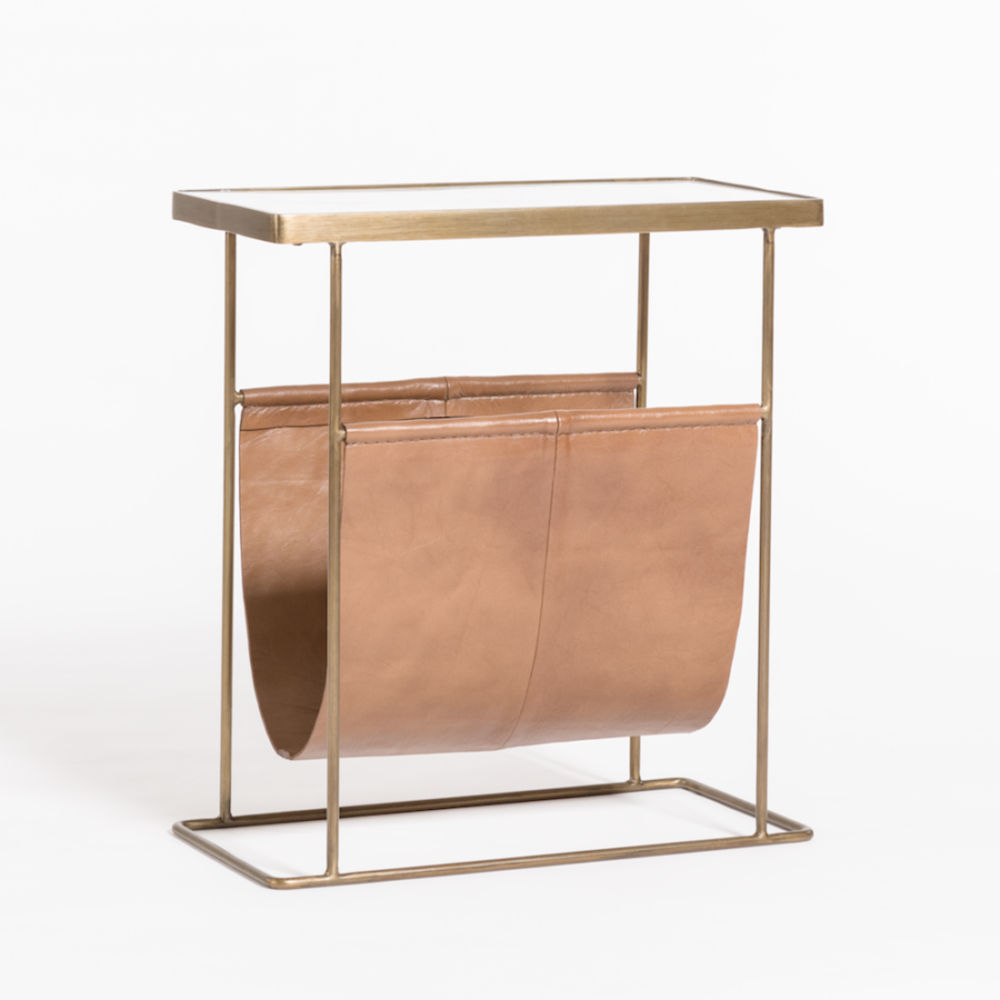 Stanton Accent Table In Tanned Umber And Antique Brass