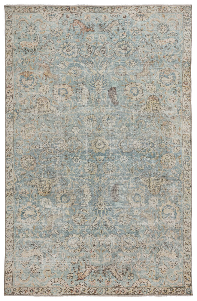 """Stag Oriental Teal/ Gold Area Rug (7'10""""X9'10"""")"""