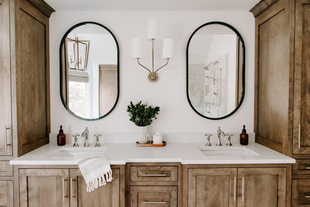 Dual vanity with distressed wood
