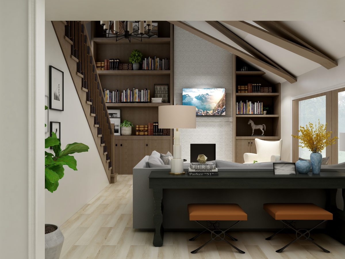Modern Rustic Family Room Small Space Interior Designer Columbus