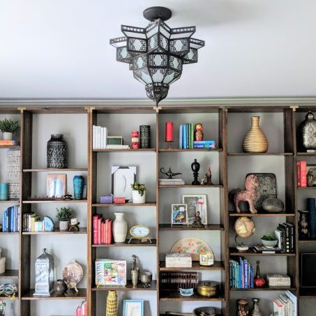 Office bookcases arranged by East and Gray Interiors