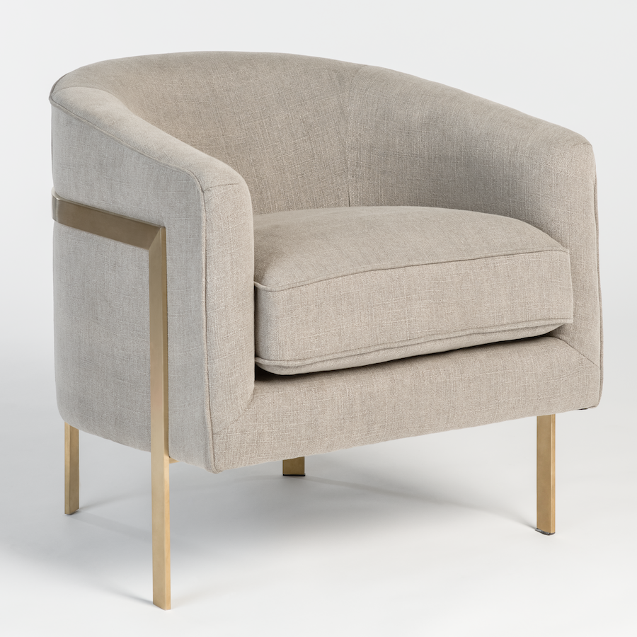 Collins Occasional Chair In White Husk And Soft Gold