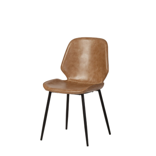 Cougar Distressed Beige Leather Dining Chair