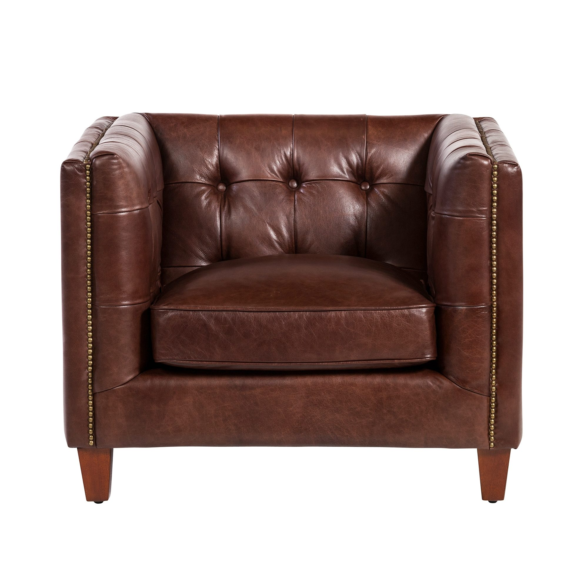 Cape Town Club Chair, Antique Brown Leather, Antique Brown Leather